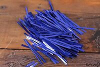50 x  Blue Metallic Twist Ties Wire for Cello Bags Cake Pops 8cm Packaging Wrap