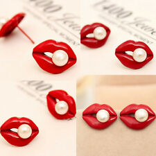1 Pair Red Mouth Love Lip Simulated Pearl Stud Earrings for Women Lady