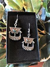 Handmade Viking Longboat Norse Style Silver Plate Earrings (Pair) Gift Boxed