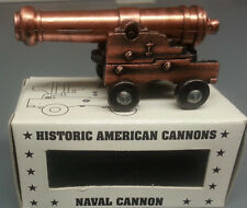 "NAVAL CANNON WITH BRONZE PLATED BARREL 2 3/4"" LONG 1"" HIGH REPRODUCTION"