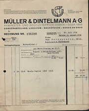 Hannover, fattura 1934, Axminster-U. bucle-Tappeto-fabbrica Müller & dintelmann