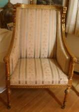 FRENCH ARMCHAIR BERGERE GILDED CARVED FRAME 19TH CENT