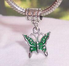 Butterfly Green Enamel Garden Insect Dangle Charm for European Bead Bracelets