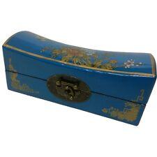 Oriental Jewellery Box-Medium Blue Hand Painted Classical Style (PS-M8U)