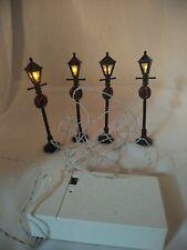 Lemax Lighted Access Set of 4 Lantern Street Lights w/ Wreaths Christmas Village
