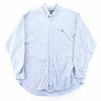 Vintage RALPH LAUREN Blake Blue 90s Long Sleeve Striped Shirt Mens XL