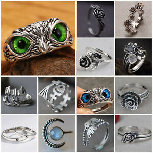 Unique Cute 925 Silver Flowers Owl Ring Punk Party Handmade Jewelry Adjustable