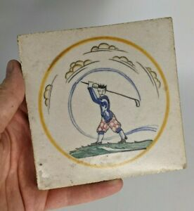 a Rare Carter Poole Pottery Sporting Tile Golfer Designed by Edward Bawden