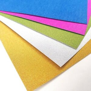 20 Sheets of A4 Premium Glitter Card Assorted Colours Scrapbooking Crafts Paper