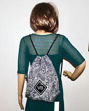 NWT VERA BRADLEY Drawstring Backpack 24924-N93 in Eden Paisley Black