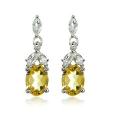 Sterling Silver Citrine and White Topaz Oval Dangle Earrings