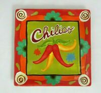 """CERTIFIED INTERNATIONAL CHILIES Large Serving Plate Platter Square 12 3/4"""""""