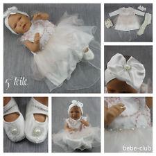 BABY Kleid Taufe Taufkleid Festkleid Weiß Blau 5-teilig Body Schuhe Stirnband 62