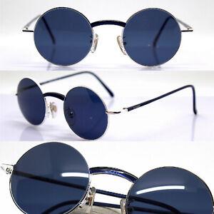 MADE IN ITALY occhiali da sole uomo ovale rotondo blu argento misura piccola 90s