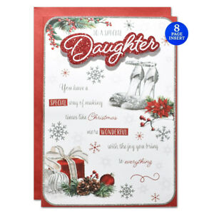 SPECIAL DAUGHTER LARGE SIZE CHRISTMAS CARD ~ 8 PAGE VERSE & QUALITY CARD
