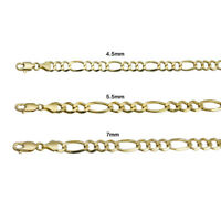 """14k Yellow Gold Solid Figaro Link Chain 4.5mm-7mm Men's Women Necklace 20""""-30"""""""