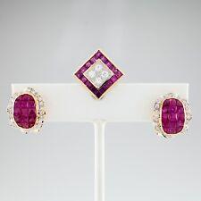 18ct Oro Amarillo 5.75 Quilate Rubí & 1.35 Diamante Pendientes y colgante Set