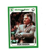 Ron Mason Michigan State MSU Spartans hockey signed card DECEASED 1986 Champs