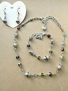 BRIGHTON Jewel Fantasy Crystal Brown Topaz & Peridot Necklace Bracelet Earrings