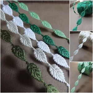 Small Satin Leaf Leaves Vine Garland Ribbon decor applique Trim Bridal cardmakin