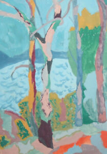 Vintage gouache painting expressionist landscape trees signed