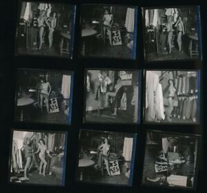 RON VOGEL Lot of 9 Original 1950s Nude Contact Photos Two Girls in a Store vv