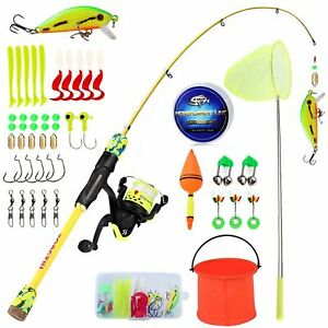 Kids Spinning Fishing Rod And Reel Combo Line Lure Hooks Set Gifts For Childrens