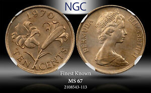 1970 BERMUDA 10 CENTS ELIZABETH II NGC MS67 FINEST KNOWN TONED