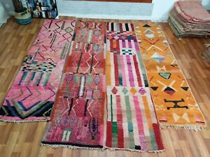 Moroccan Pre-owned Handmade Boujaad Runner Tribal Symbols Geometric Abstract Rug