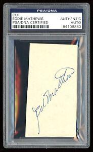 Eddie Mathews Signed Album Cut PSA/DNA Autograph Milwaukee Braves D. 2001