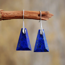 Sterling Silver Natural Lapis Lazuli Triangle Dangle Drop Blue Earrings