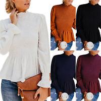 Women Lady Ruffle Long Sleeve Shirt T-shirts Casual High Neck Blouse Tops Winter