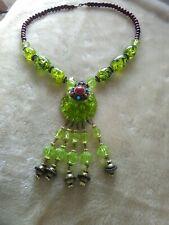 Chunky Lime Green Fleck Beaded Tibetan Necklace