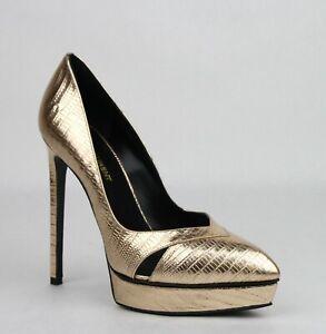 Saint Laurent Metallic Pale Gold Classic Lizard Embossed Pumps Heels 416513 7100