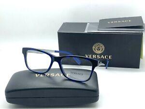 NEW VERSACE Eyeglasses OVE3245 5237 SPOTTED BLACK/BLUE  55-17-145MM /NIB ITALY