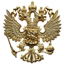 LARGE RUSSIAN IMPERIAL EAGLE ST.GEORGE RUSSIA COAT OF ARMS GOLD METAL CREST 10cm