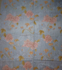 ancien tissu textile ameublement coton imprimé fleur gris effet moire 166x60 cm
