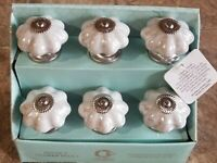 Casa Decor Drawer Pulls Set of 6 Ceramic and Metal Cabinet Knobs