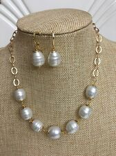 White Baroque Mallorca Pearl Necklace Set with Matching Earrings Gold Plated
