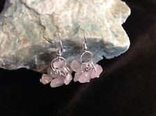 Rose quartz AGW 12Cts cluster style silver plated hook earrings