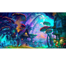 "Art Silk Poster Psychedelic Mushroom Town Fabric Wall Home Decor 24""x36"" inch"