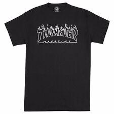 Thrasher Magazine FLAMES OUTLINE LOGO Skateboard Shirt BLACK XL
