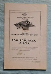 Garrard Automatic Record Changing Units RC4A, RC5A Instruction Service Manual