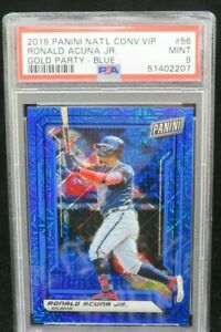 2019 RONALD ACUNA NATIONAL CONVENTION VIP GOLD PARTY BLUE 13/15 #56 PSA 9 JSY #