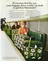 1968 Samsonite Fashionaire Luggage PRINT AD Couple Travelers on Conveyor Belt