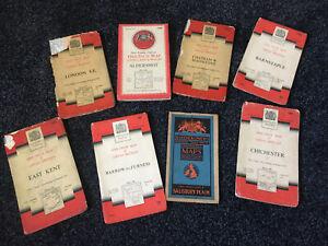 Job Lot 8 Vintage Maps Including London, Kent, Aldershot, Chichester, Barnstaple