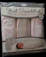 NoJo Just Swaddled Secure-Me Blankets  3-Pack  0-3/Sm-Med