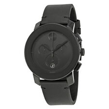 Movado Bold Chronograph Black Dial Black Leather Band Mens Quartz Watch 3600337