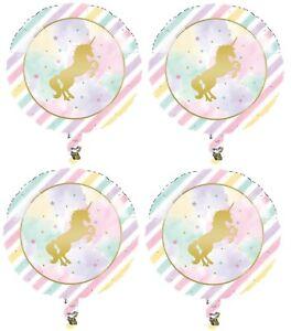 "4x Magical Gold Unicorn Happy Birthday 18"" Mylar Foil Balloon Party Supplies"