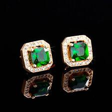 CZ Stud Earrings 18K yellow Gold Plated 2ct princess cut halo square men women